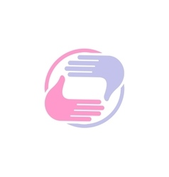 Isolated abstract blue and pink color human hands vector image
