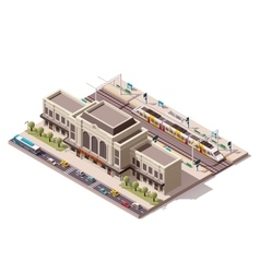 Isometric train station vector