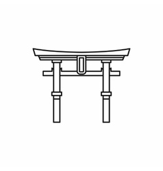 Japan gate Torii icon outline style vector