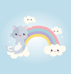 kawaii cartoon cute cat with tongue out in rainbow vector image