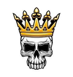 King skull in royal gold crown vector image