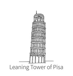 Leaning tower pisa drawing sketch vector