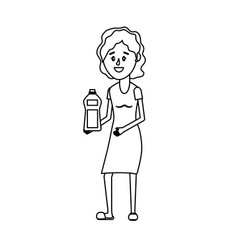 Line woman hairstyle with bottle soap in the hands vector