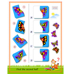 Logic puzzle for children find and draw second vector