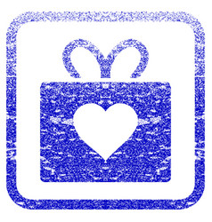 Love gift framed textured icon vector