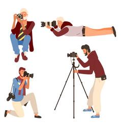 Man photographing taking photo camera vector