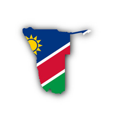 map and flag of namibia vector image