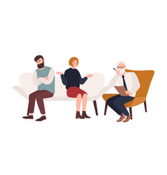 married couple on sofa and elderly psychologist vector image