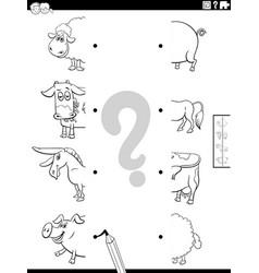 match halves farm animals pictures coloring vector image