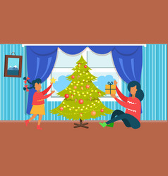 mother and daughter christmas vector image