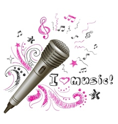 Music doodle microphone vector image
