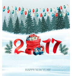 new year background with a 2017 and sack vector image
