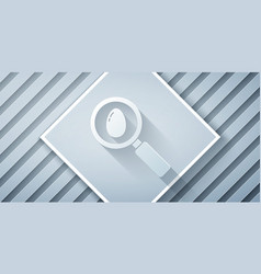 Paper cut search and easter egg icon isolated on vector