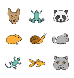 pets color icons set vector image