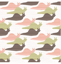 pink and green snail race silhouette seamless vector image