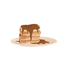 Plate with stack of lush fritters or pancakes vector