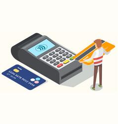 Pos terminal confirms payment debit credit vector