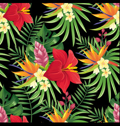 rainforest flowers seamless pattern tropical vector image
