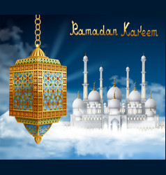 Ramadan background with arabic lantern and mosque vector