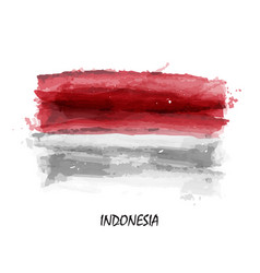 realistic watercolor painting flag of indonesia vector image