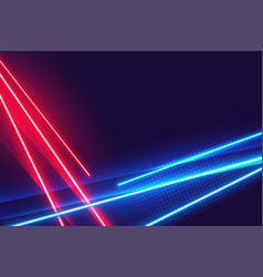 Red and blue neon lights geometric background vector