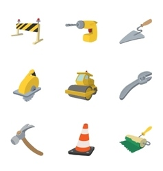 Road repair icons set cartoon style vector