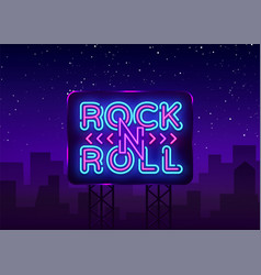 Rock and roll logo in neon style rock music neon vector