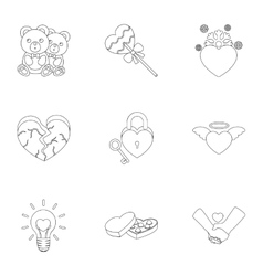 Romantic set icons in outline style Big vector image