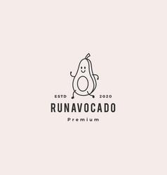 Running avocado logo hipster vintage retro icon vector
