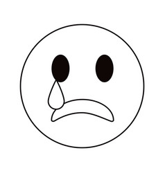 sad emoticon style thin line vector image