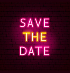 save date neon text vector image