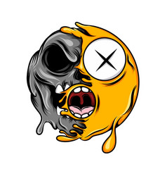 scary half skull emoticon with open mouth vector image