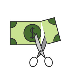 scissors cutting money icon vector image