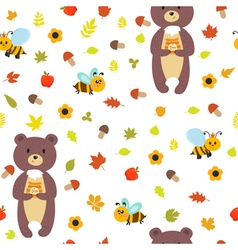 Seamless pattern with bears and bees Cute children vector