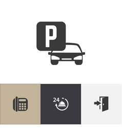 Set of 4 editable motel icons includes symbols vector