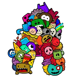 Single english alphabet doodle vector