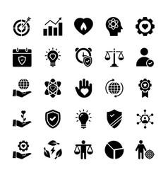 Social responsibilities glyph icons vector