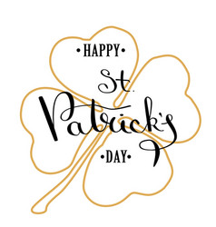 st patrick s day lettering greeting card vector image