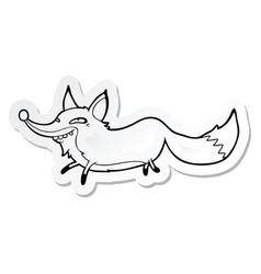 Sticker of a cartoon sly fox vector