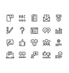 Survey line icons quiz and checklist stroke vector