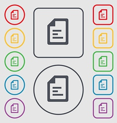 Text file icon sign symbol on the Round and square vector image