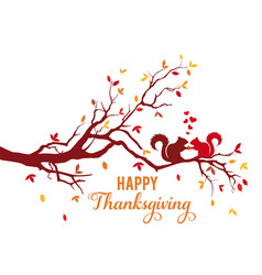 thanksgiving card autumn tree with squirrels vector image