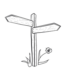 the pointer road wooden post with arrows on vector image