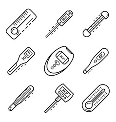 Thermometer icon set outline style vector