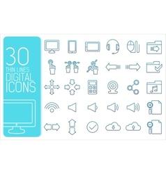 thin line social set icons concept design vector image