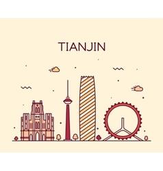 tianjin skyline line art vector image