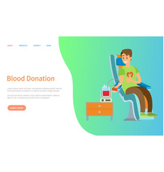 Transfusing blood donation online health vector