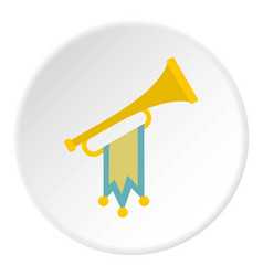 trumpet with flag icon circle vector image