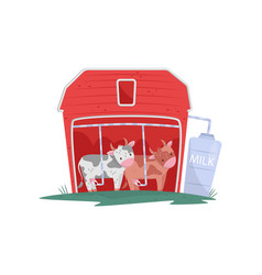 Two funny cows in red wooden barn automatic vector