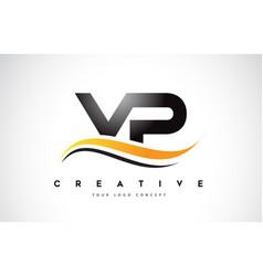 vp v p swoosh letter logo design with modern vector image